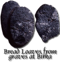 Loaves of bread from Viking graves.  (Click to jump to the web page.)