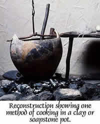 Reconstruction showing how suspended clay pots were used in cooking over an open fire.