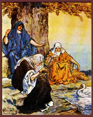Romantic Depiction of the Norns Spinning Fate