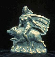 Freyja riding upon her magical boar, Hildisvín