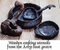 Cooking utensils from a Viking Age grave find.